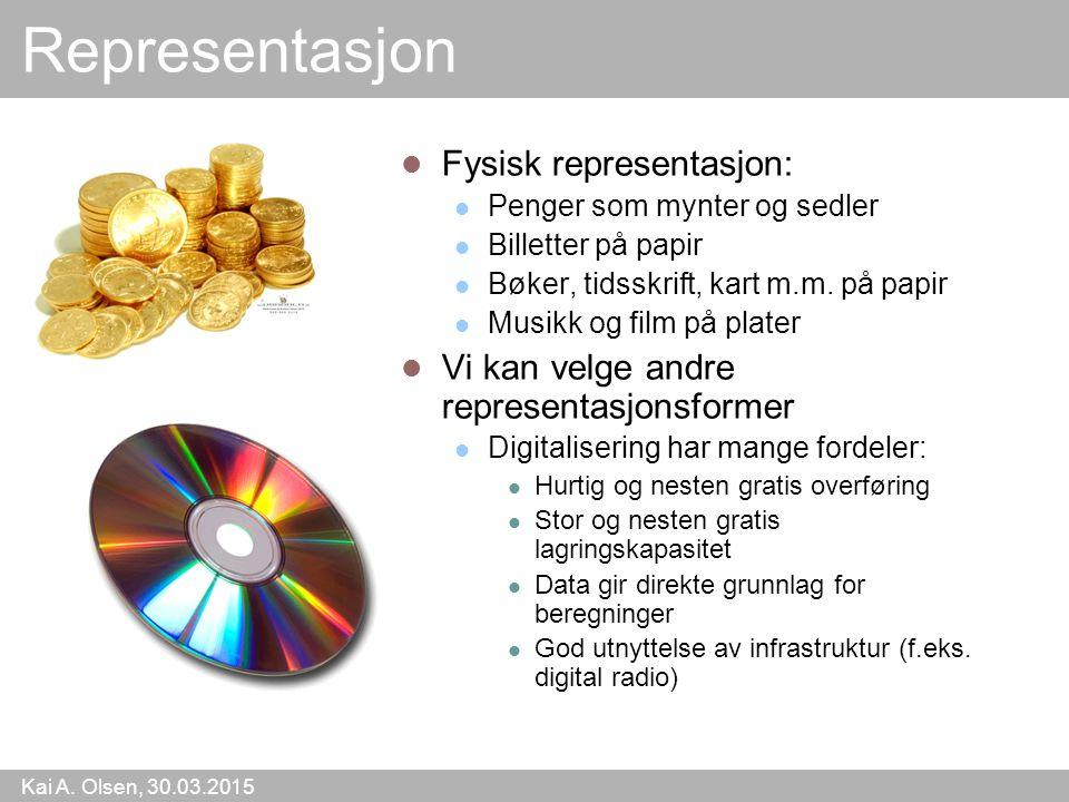 Kai A. Olsen, 30.03.2015 3 Representasjon Fysisk representasjon: Penger som mynter og sedler Billetter på papir Bøker, tidsskrift, kart m.m. på papir
