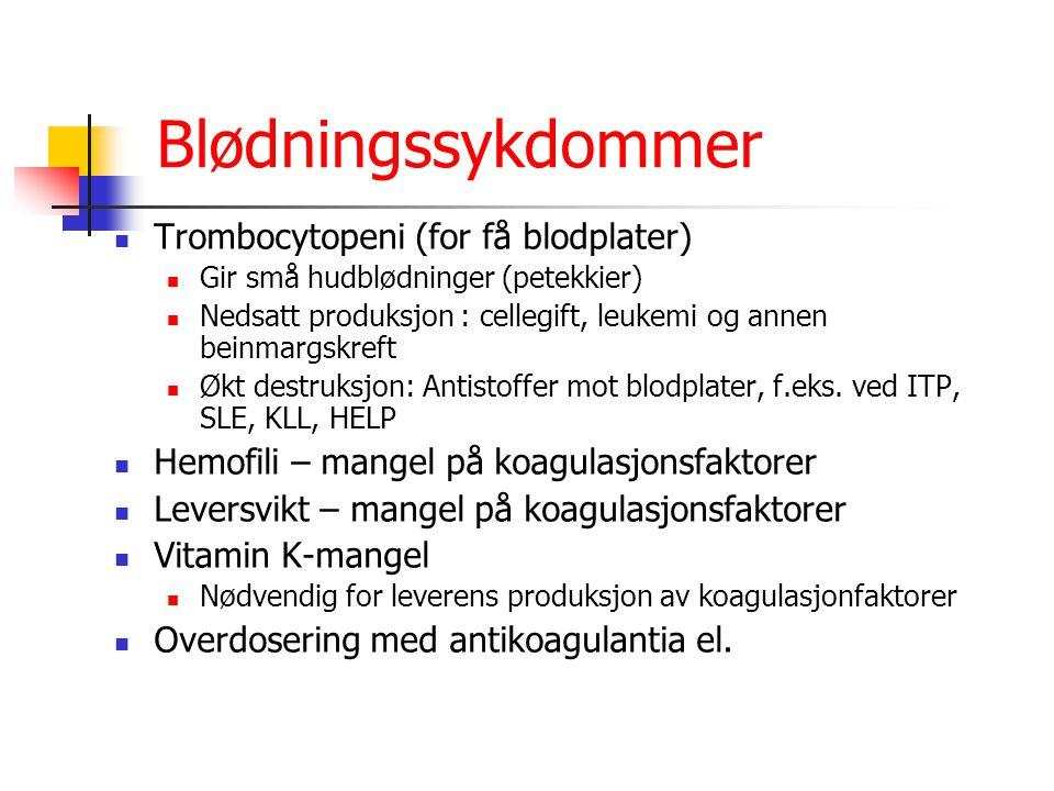 Blødningssykdommer Trombocytopeni (for få blodplater) Gir små hudblødninger (petekkier) Nedsatt produksjon : cellegift, leukemi og annen beinmargskref