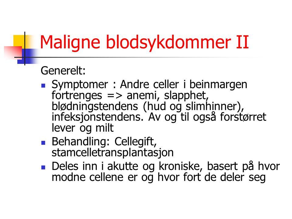 Maligne blodsykdommer II Generelt: Symptomer : Andre celler i beinmargen fortrenges => anemi, slapphet, blødningstendens (hud og slimhinner), infeksjo