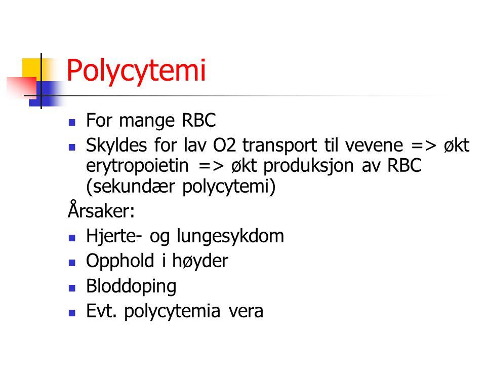 Polycytemi For mange RBC Skyldes for lav O2 transport til vevene => økt erytropoietin => økt produksjon av RBC (sekundær polycytemi) Årsaker: Hjerte-