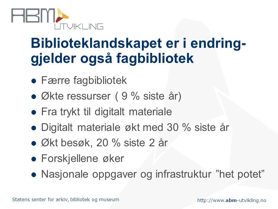http://www.abm-utvikling.no Statens senter for arkiv, bibliotek og museum Biblioteklandskapet er i endring 30 filialer nedlagt årlig de siste 10 år 59