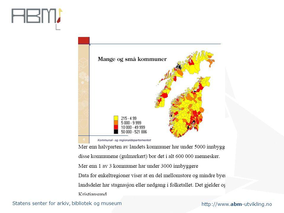 http://www.abm-utvikling.no Statens senter for arkiv, bibliotek og museum Trekk ved dagens kommunestruktur (1)