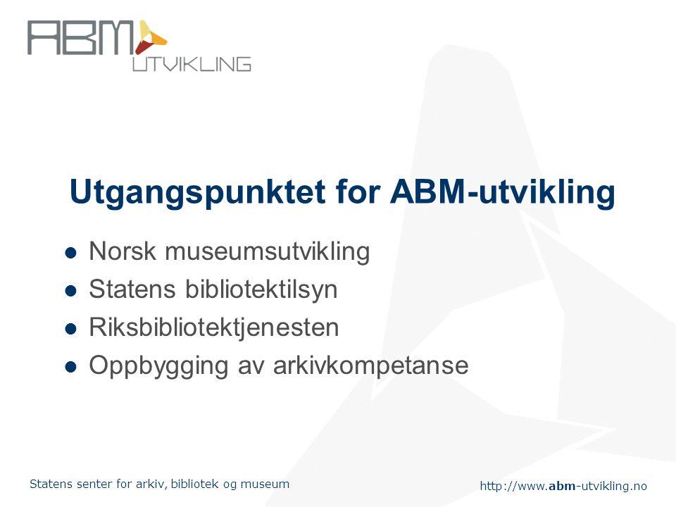 http://www.abm-utvikling.no Statens senter for arkiv, bibliotek og museum Hvorfor etablere ABM-utvikling? Felles digital utfordring Fokus på sambruk a