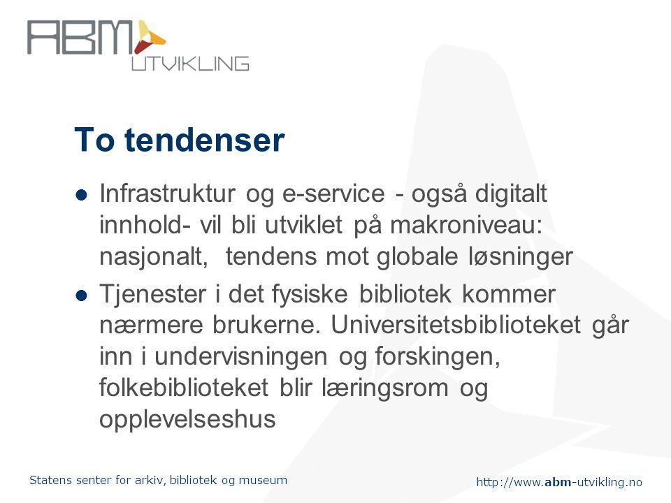 http://www.abm-utvikling.no Statens senter for arkiv, bibliotek og museum Nye utfordringer Visjonen: lett tilgang til informasjon & kunnskap integrert