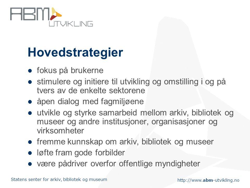 http://www.abm-utvikling.no Statens senter for arkiv, bibliotek og museum Regionalt biblioteksamarbeid – bidrag til bedre bibliotektjenester.