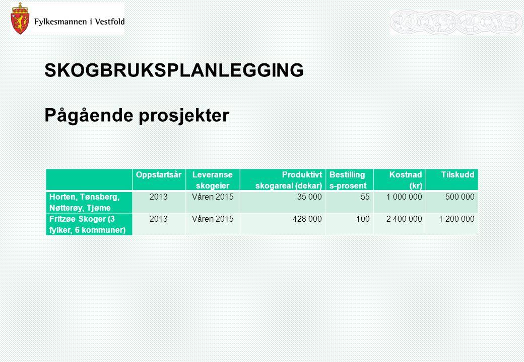 SKOGBRUKSPLANLEGGING Pågående prosjekter Oppstartsår Leveranse skogeier Produktivt skogareal (dekar) Bestilling s-prosent Kostnad (kr) Tilskudd Horten, Tønsberg, Nøtterøy, Tjøme 2013Våren 2015 35 000551 000 000500 000 Fritzøe Skoger (3 fylker, 6 kommuner) 2013Våren 2015428 0001002 400 0001 200 000