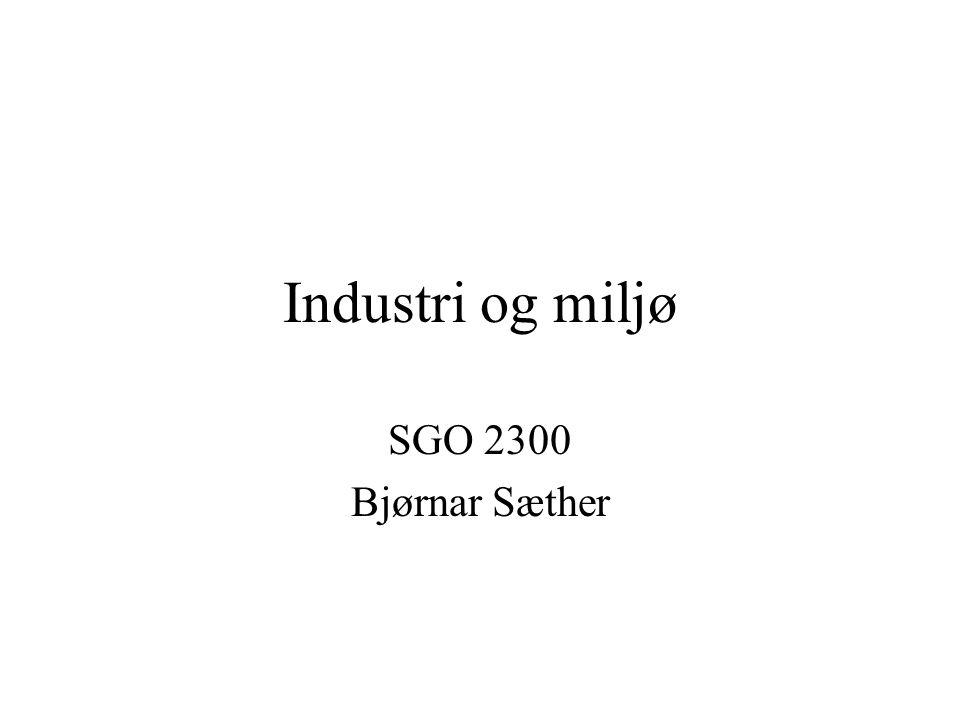 Industrivekst og forurensing Sterk vekst i industriproduksjonen 1950 - 1970 i Norge og internasjonalt Generelt ingen form for miljøtiltak, verken frivillig eller fra myndighetene Industrien var ansett som grunnlaget for velstandsøkingen og var ikke gjenstand for kritikk