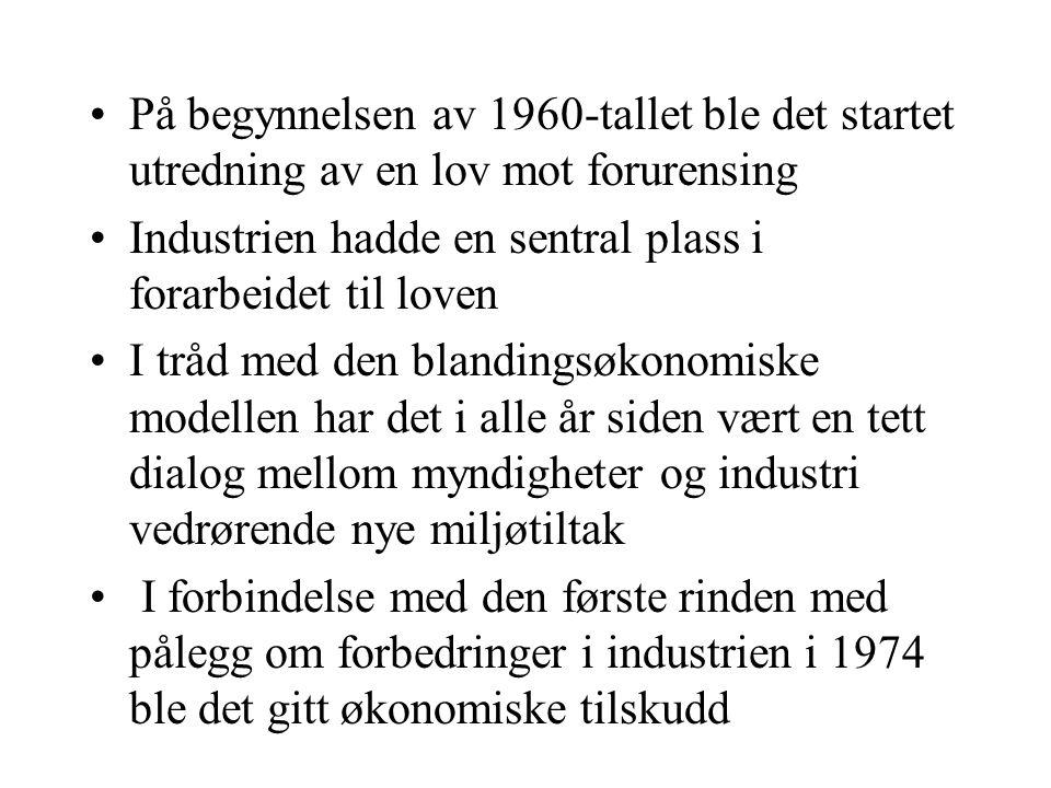 Industriens strategi på 1970-tallet Så på miljøproblemer som det offentliges ansvar, noe som innebar at: –Myndighetene var forventet å definere problemene –Myndighetene var forventet å spesifisere løsninger –Myndighetene var forventet å finansiere løsningene