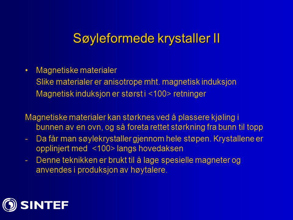 Søyleformede krystaller II Magnetiske materialer Slike materialer er anisotrope mht. magnetisk induksjon Magnetisk induksjon er størst i retninger Mag