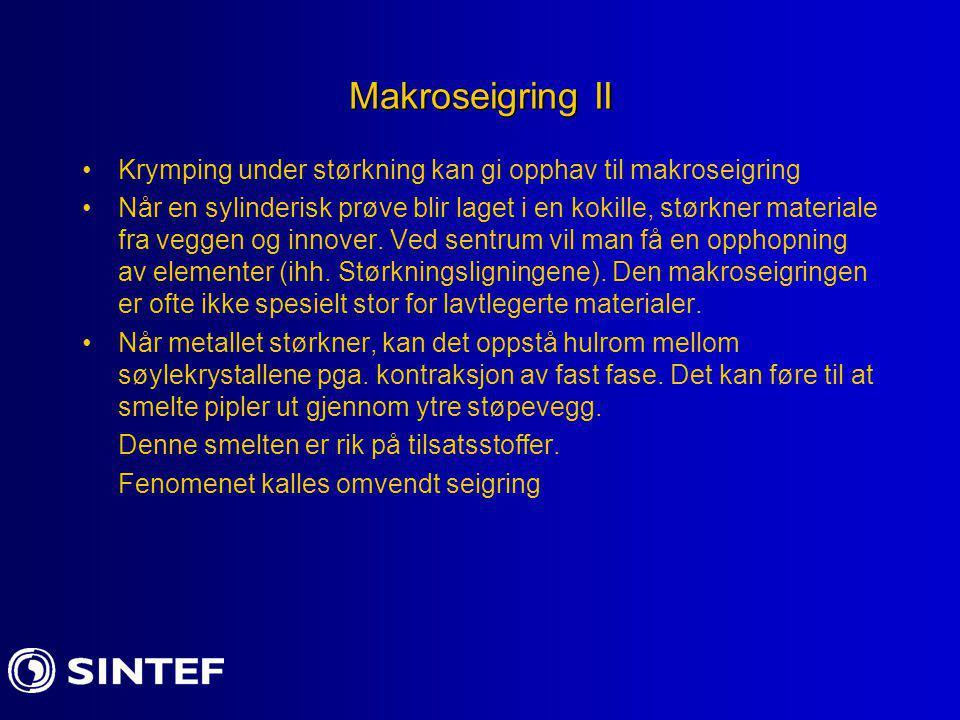 Makroseigring II Krymping under størkning kan gi opphav til makroseigring Når en sylinderisk prøve blir laget i en kokille, størkner materiale fra veg
