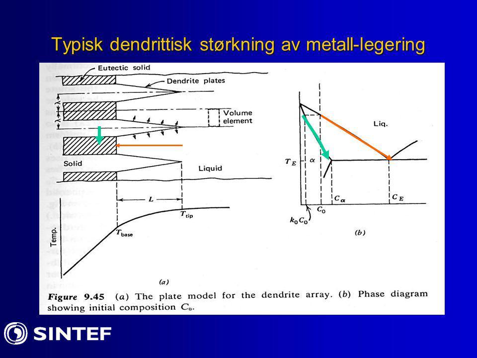 Typisk dendrittisk størkning av metall-legering