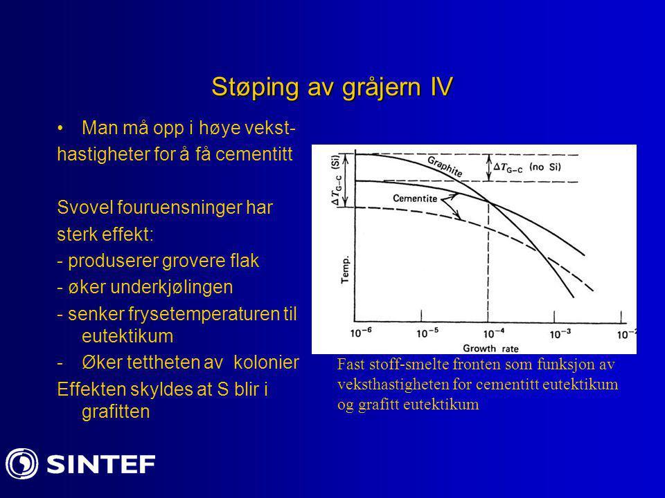 Støping av gråjern IV Man må opp i høye vekst- hastigheter for å få cementitt Svovel fouruensninger har sterk effekt: - produserer grovere flak - øker