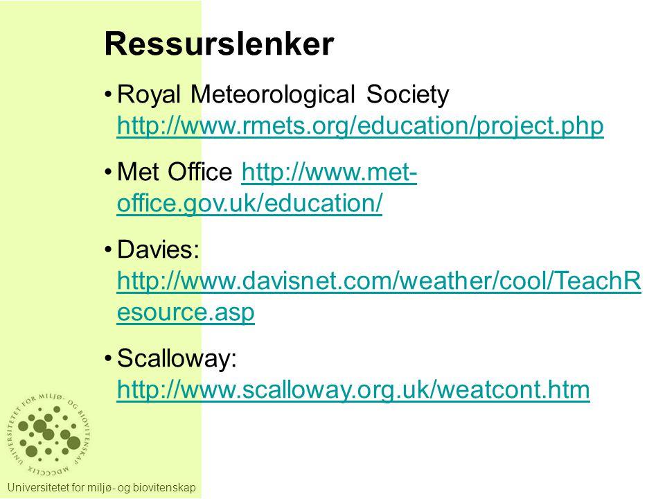 Universitetet for miljø- og biovitenskap Ressurslenker Royal Meteorological Society http://www.rmets.org/education/project.php http://www.rmets.org/education/project.php Met Office http://www.met- office.gov.uk/education/http://www.met- office.gov.uk/education/ Davies: http://www.davisnet.com/weather/cool/TeachR esource.asp http://www.davisnet.com/weather/cool/TeachR esource.asp Scalloway: http://www.scalloway.org.uk/weatcont.htm http://www.scalloway.org.uk/weatcont.htm