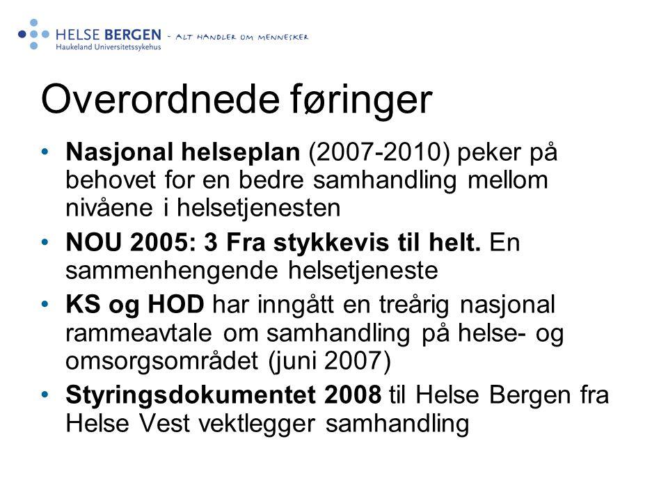 Overordnede føringer Nasjonal helseplan (2007-2010) peker på behovet for en bedre samhandling mellom nivåene i helsetjenesten NOU 2005: 3 Fra stykkevi