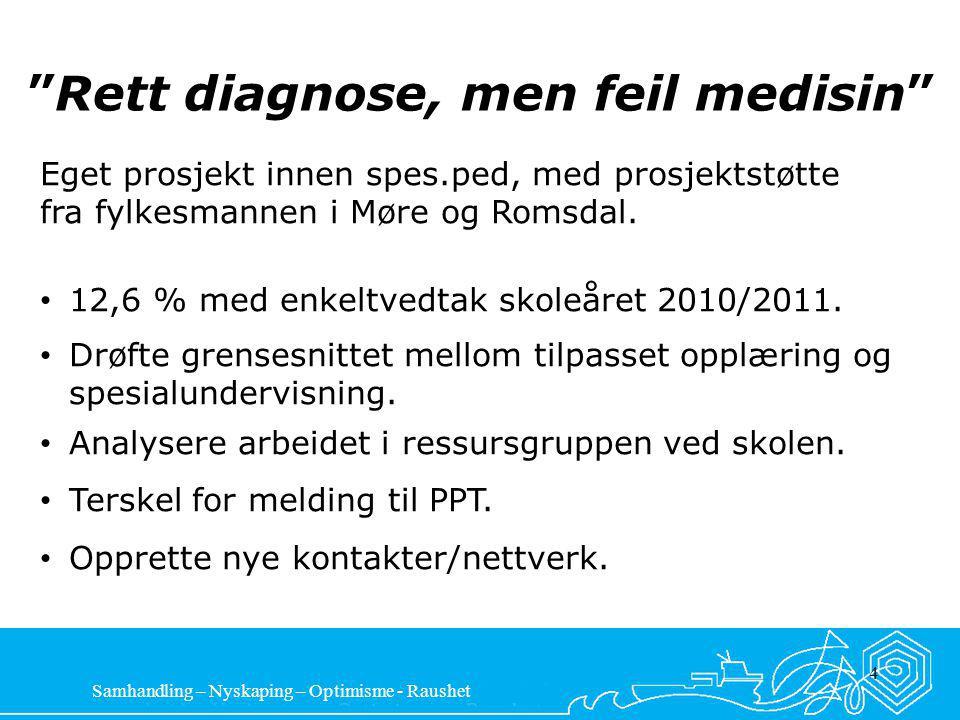 Samhandling – Nyskaping – Optimisme - Raushet 4 Rett diagnose, men feil medisin Eget prosjekt innen spes.ped, med prosjektstøtte fra fylkesmannen i Møre og Romsdal.
