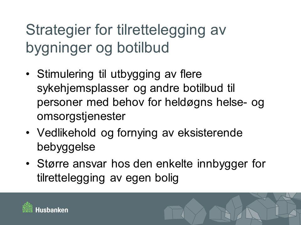 Strategier for tilrettelegging av bygninger og botilbud Stimulering til utbygging av flere sykehjemsplasser og andre botilbud til personer med behov f