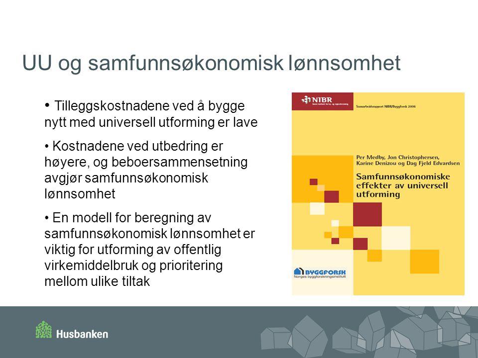 UU og samfunnsøkonomisk lønnsomhet Tilleggskostnadene ved å bygge nytt med universell utforming er lave Kostnadene ved utbedring er høyere, og beboers