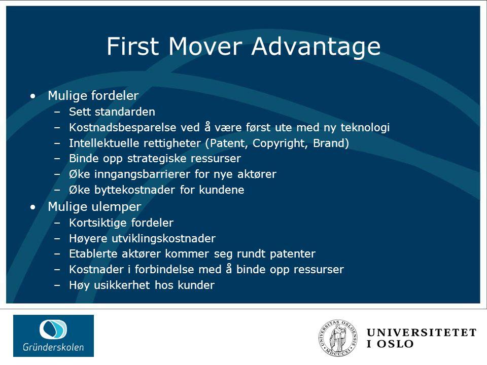 First Mover Advantage Mulige fordeler –Sett standarden –Kostnadsbesparelse ved å være først ute med ny teknologi –Intellektuelle rettigheter (Patent, Copyright, Brand) –Binde opp strategiske ressurser –Øke inngangsbarrierer for nye aktører –Øke byttekostnader for kundene Mulige ulemper –Kortsiktige fordeler –Høyere utviklingskostnader –Etablerte aktører kommer seg rundt patenter –Kostnader i forbindelse med å binde opp ressurser –Høy usikkerhet hos kunder