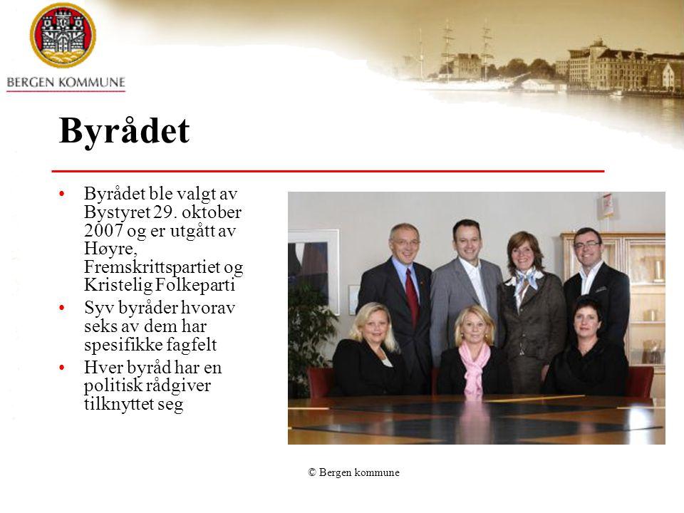 Byrådet Byrådet ble valgt av Bystyret 29. oktober 2007 og er utgått av Høyre, Fremskrittspartiet og Kristelig Folkeparti Syv byråder hvorav seks av de