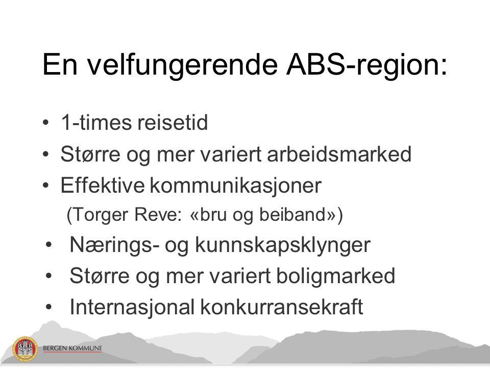En velfungerende ABS-region: 1-times reisetid Større og mer variert arbeidsmarked Effektive kommunikasjoner (Torger Reve: «bru og beiband») Nærings- og kunnskapsklynger Større og mer variert boligmarked Internasjonal konkurransekraft