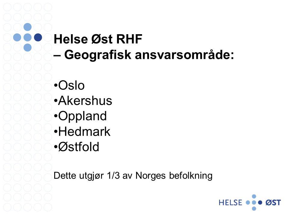 Helse Øst RHF – Geografisk ansvarsområde: Oslo Akershus Oppland Hedmark Østfold Dette utgjør 1/3 av Norges befolkning