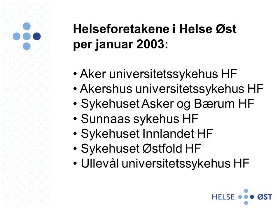 Helseforetakene i Helse Øst per januar 2003: Aker universitetssykehus HF Akershus universitetssykehus HF Sykehuset Asker og Bærum HF Sunnaas sykehus HF Sykehuset Innlandet HF Sykehuset Østfold HF Ullevål universitetssykehus HF