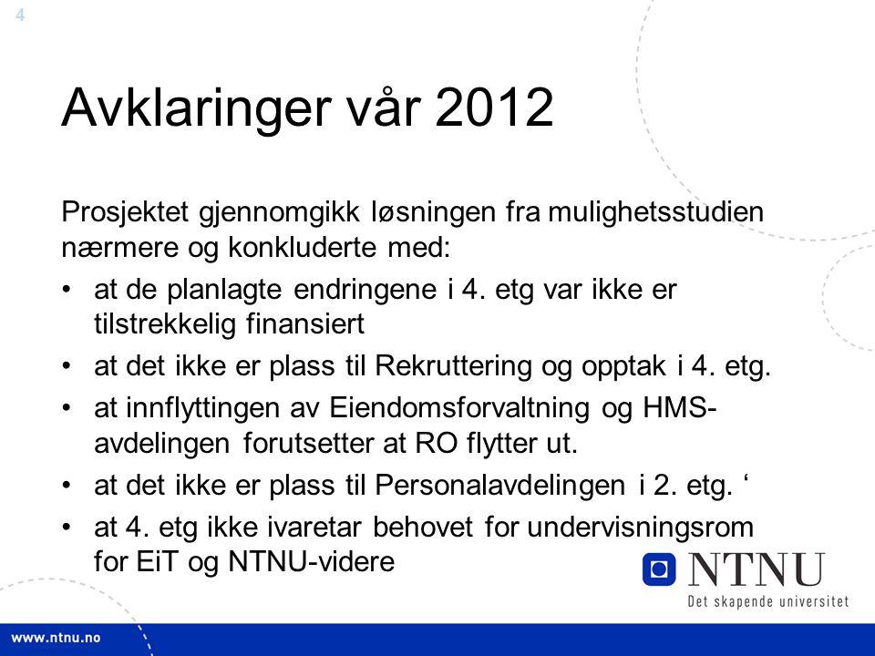 5 Forslag til ny løsning (1) - juni 2012 EnhetBehov kontor- plasser Tilgjengelige plasser Rektor og rektorsstaber Rektor1Kjeller vestfløy 26 1.