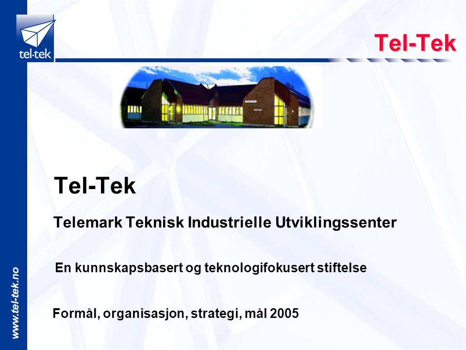 www.tel-tek.no Tel-Tek Tel-Tek Telemark Teknisk Industrielle Utviklingssenter En kunnskapsbasert og teknologifokusert stiftelse Formål, organisasjon, strategi, mål 2005