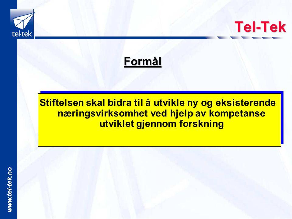 www.tel-tek.no Tel-Tek Formål Formål Stiftelsen skal bidra til å utvikle ny og eksisterende næringsvirksomhet ved hjelp av kompetanse utviklet gjennom forskning