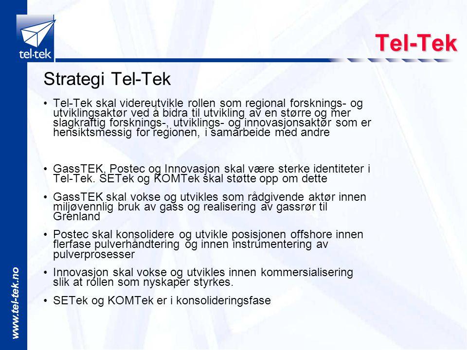www.tel-tek.no Strategi Tel-Tek Tel-Tek skal videreutvikle rollen som regional forsknings- og utviklingsaktør ved å bidra til utvikling av en større og mer slagkraftig forsknings-, utviklings- og innovasjonsaktør som er hensiktsmessig for regionen, i samarbeide med andre GassTEK, Postec og Innovasjon skal være sterke identiteter i Tel-Tek.