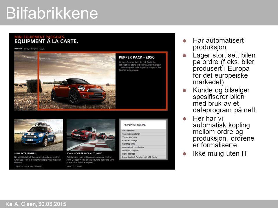 Kai A. Olsen, 30.03.2015 13 Bilfabrikkene Har automatisert produksjon Lager stort sett bilen på ordre (f.eks. biler produsert i Europa for det europei