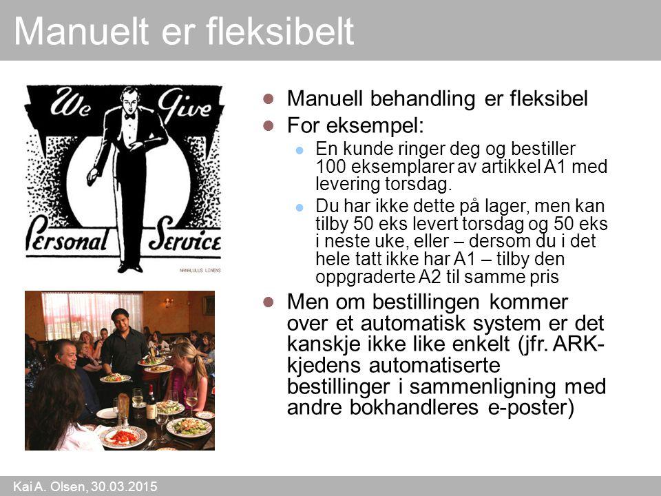 Kai A. Olsen, 30.03.2015 4 Manuelt er fleksibelt Manuell behandling er fleksibel For eksempel: En kunde ringer deg og bestiller 100 eksemplarer av art