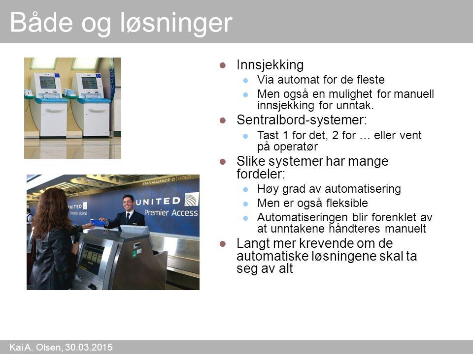 Kai A. Olsen, 30.03.2015 5 Både og løsninger Innsjekking Via automat for de fleste Men også en mulighet for manuell innsjekking for unntak. Sentralbor
