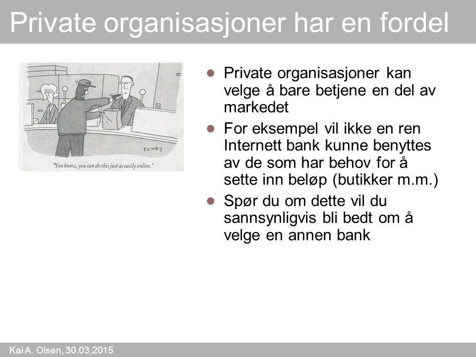 Kai A. Olsen, 30.03.2015 7 Private organisasjoner har en fordel Private organisasjoner kan velge å bare betjene en del av markedet For eksempel vil ik