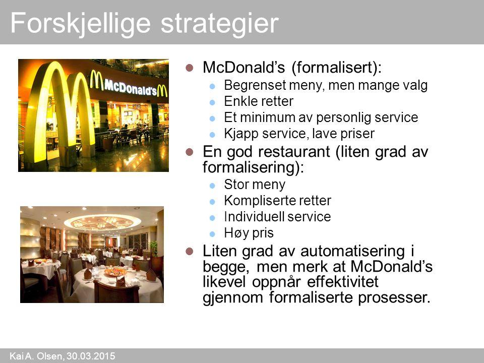 Kai A. Olsen, 30.03.2015 9 Forskjellige strategier McDonald's (formalisert): Begrenset meny, men mange valg Enkle retter Et minimum av personlig servi
