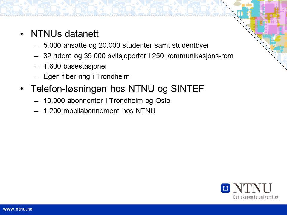NTNUs datanett –5.000 ansatte og 20.000 studenter samt studentbyer –32 rutere og 35.000 svitsjeporter i 250 kommunikasjons-rom –1.600 basestasjoner –E