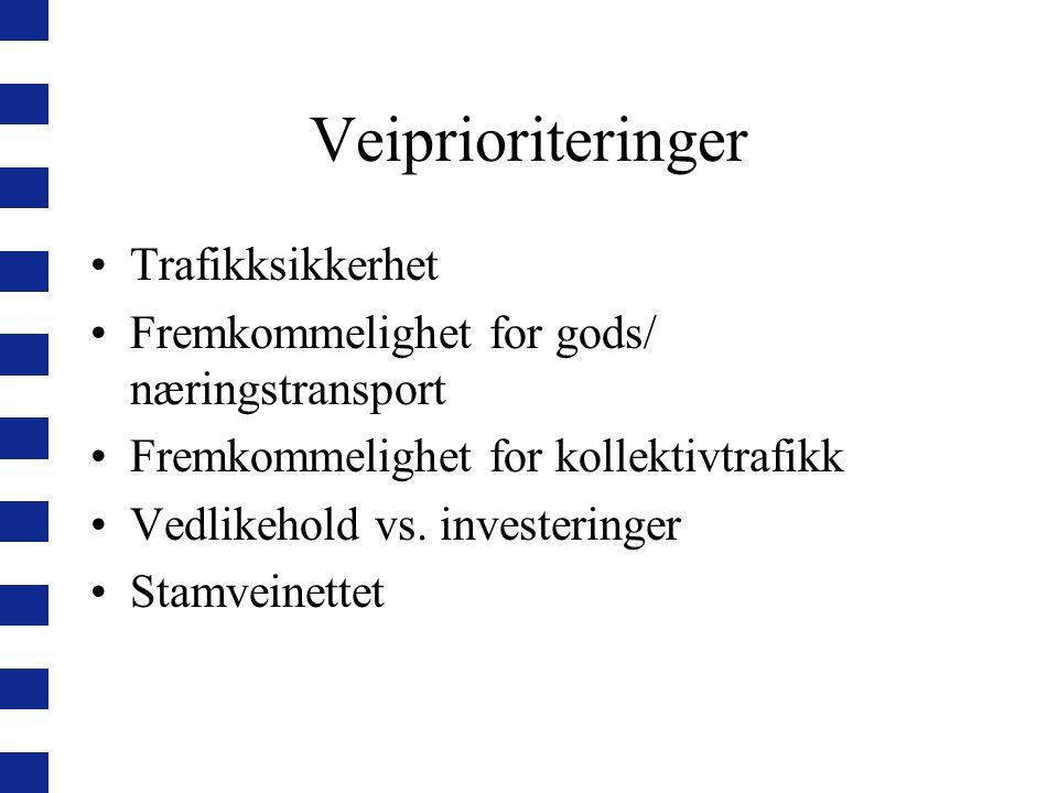 Veiprioriteringer Trafikksikkerhet Fremkommelighet for gods/ næringstransport Fremkommelighet for kollektivtrafikk Vedlikehold vs.