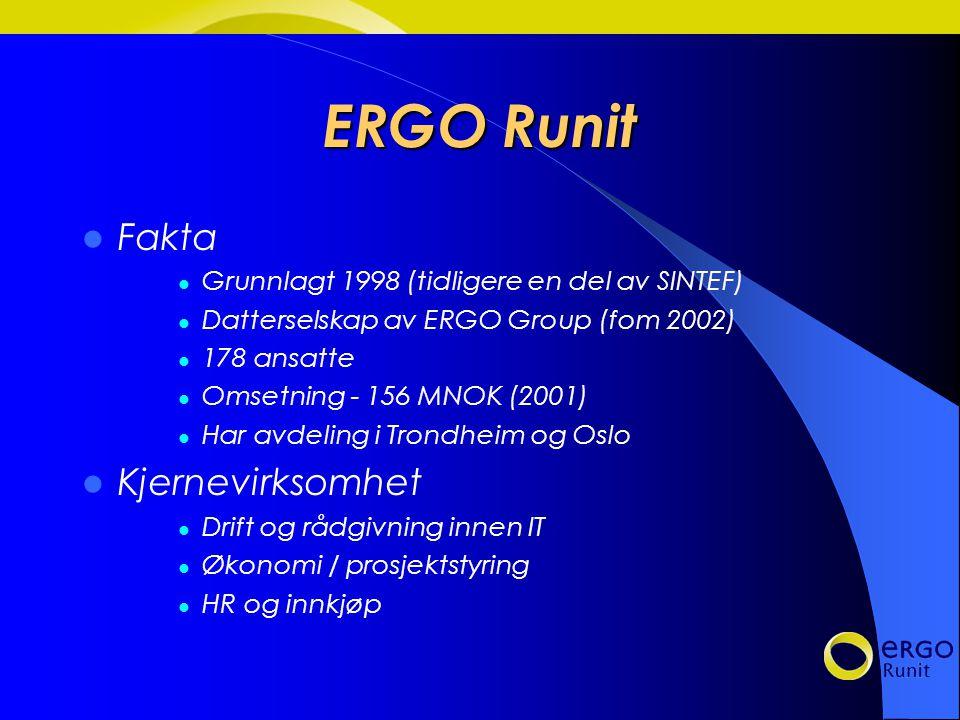 ERGO Runit Fakta Grunnlagt 1998 (tidligere en del av SINTEF) Datterselskap av ERGO Group (fom 2002) 178 ansatte Omsetning - 156 MNOK (2001) Har avdeling i Trondheim og Oslo Kjernevirksomhet Drift og rådgivning innen IT Økonomi / prosjektstyring HR og innkjøp