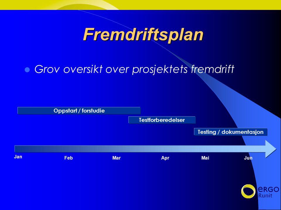 Fremdriftsplan Grov oversikt over prosjektets fremdrift Jan Feb Mar Apr Mai Jun Oppstart / forstudie Testforberedelser Testing / dokumentasjon