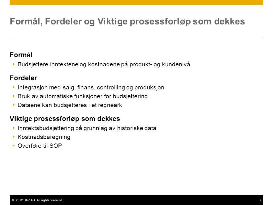 ©2012 SAP AG. All rights reserved.2 Formål, Fordeler og Viktige prosessforløp som dekkes Formål  Budsjettere inntektene og kostnadene på produkt- og