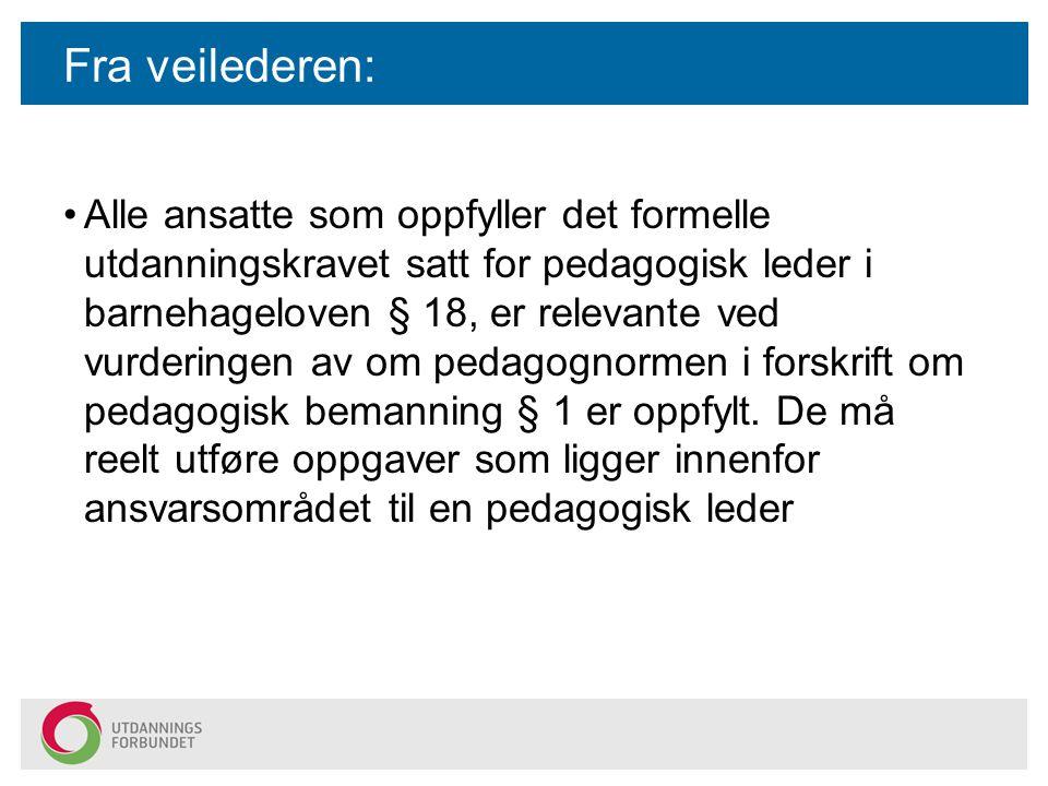 Fra veilederen: Alle ansatte som oppfyller det formelle utdanningskravet satt for pedagogisk leder i barnehageloven § 18, er relevante ved vurderingen