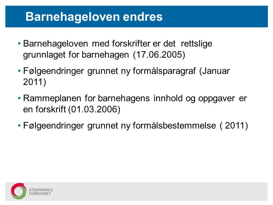 Barnehageloven med forskrifter er det rettslige grunnlaget for barnehagen (17.06.2005) Følgeendringer grunnet ny formålsparagraf (Januar 2011) Rammepl