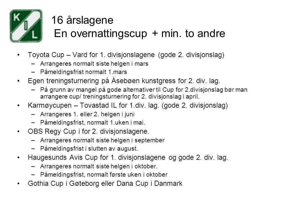 16 årslagene En overnattingscup + min. to andre Toyota Cup – Vard for 1. divisjonslagene (gode 2. divisjonslag) –Arrangeres normalt siste helgen i mar