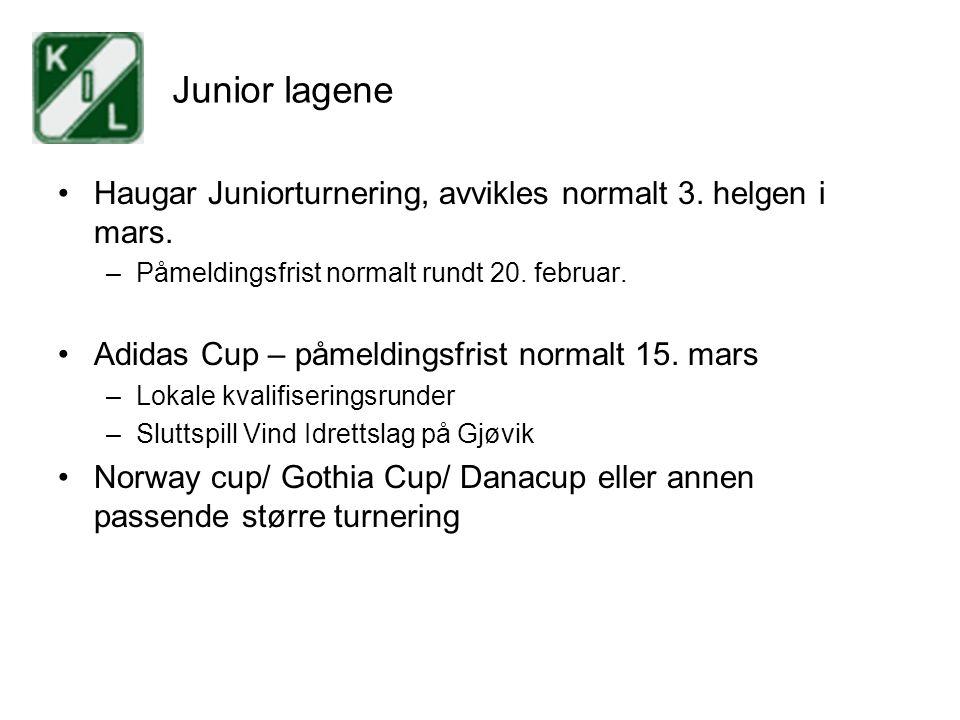 Junior lagene Haugar Juniorturnering, avvikles normalt 3. helgen i mars. –Påmeldingsfrist normalt rundt 20. februar. Adidas Cup – påmeldingsfrist norm