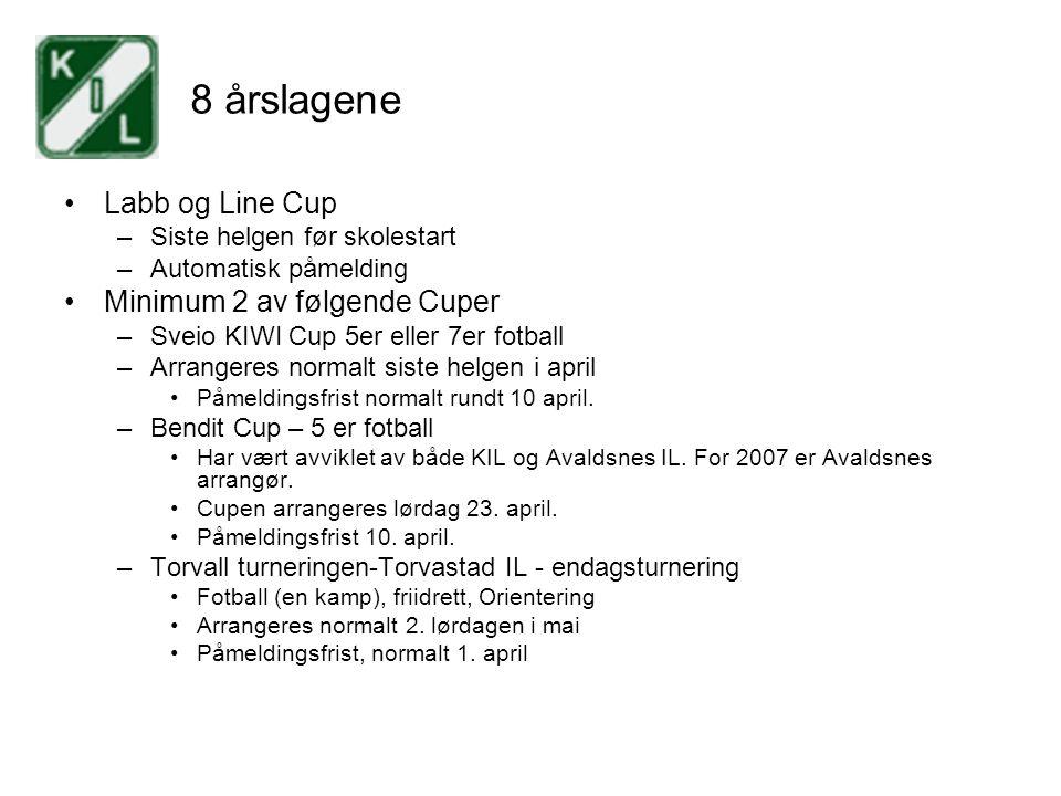 8 årslagene Labb og Line Cup –Siste helgen før skolestart –Automatisk påmelding Minimum 2 av følgende Cuper –Sveio KIWI Cup 5er eller 7er fotball –Arr