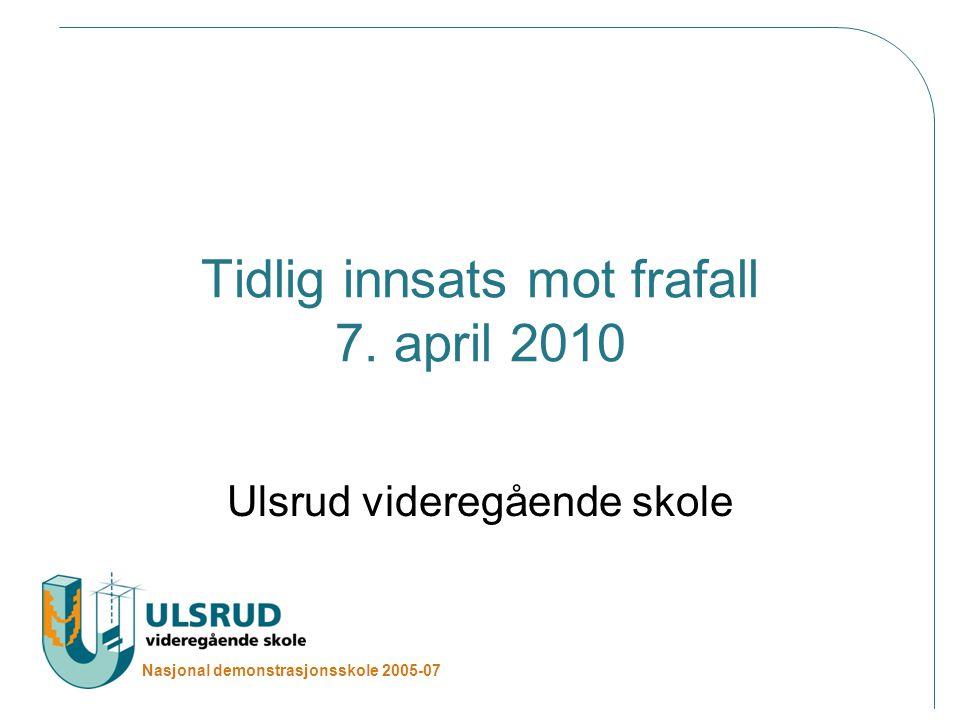 Nasjonal demonstrasjonsskole 2005-07 Tema Ulsrud vgs Informasjonsinnhenting/kartlegging Stor innsats for tidlig fokus på tilpasset opplæring, lære mer, fullføre og bestå videregående skole