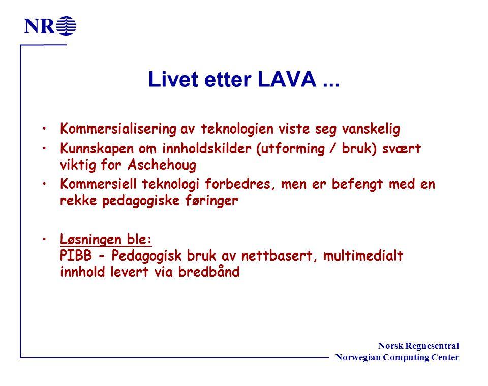 Norsk Regnesentral Norwegian Computing Center Livet etter LAVA...
