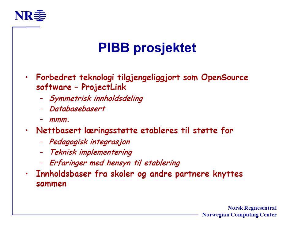 Norsk Regnesentral Norwegian Computing Center PIBB prosjektet Forbedret teknologi tilgjengeliggjort som OpenSource software – ProjectLink –Symmetrisk innholdsdeling –Databasebasert –mmm.