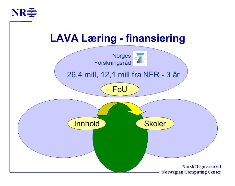 Norsk Regnesentral Norwegian Computing Center LAVA Læring - finansiering InnholdSkoler FoU Norges Forskningsråd 26,4 mill, 12,1 mill fra NFR - 3 år