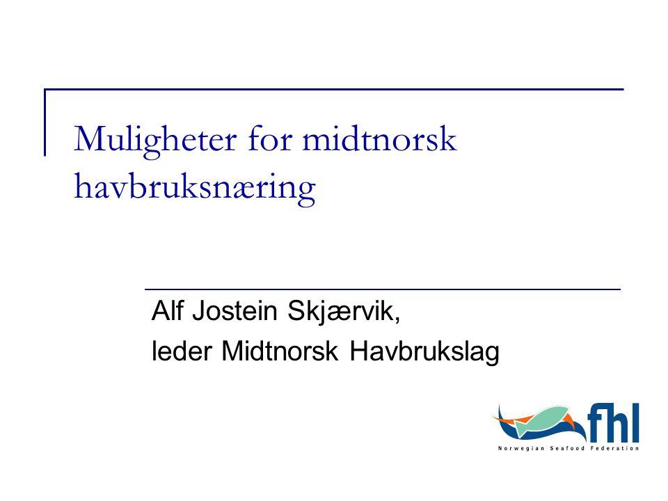 Muligheter for midtnorsk havbruksnæring Alf Jostein Skjærvik, leder Midtnorsk Havbrukslag